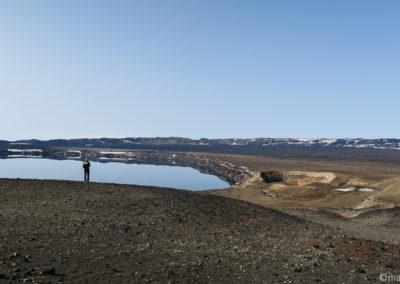 Öskjuvatn à gauche, lac de Viti à droite
