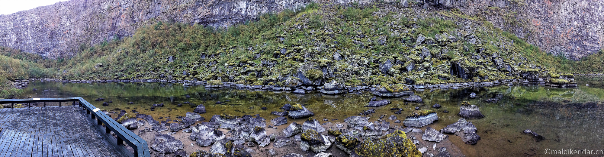 Randonnée à Asbyrgi, comme un congélateur, le lac Botnstjörn