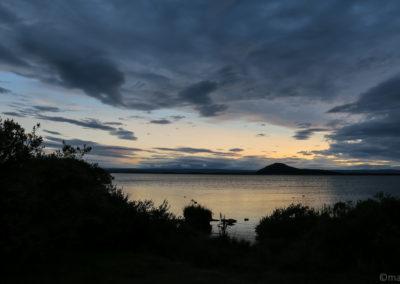 Coucher de soleil sur le lac de Myvatn à Reykjahlid