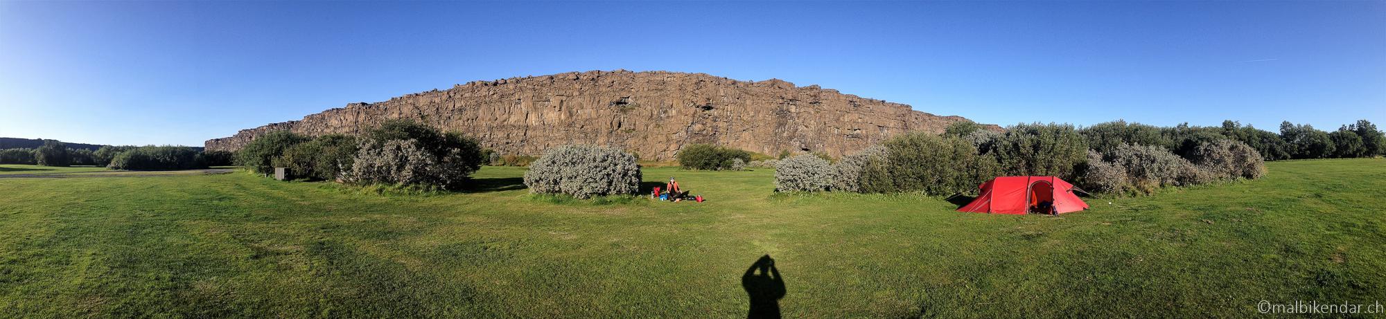 A vélo en Islande, au camping d'Asbyrgi