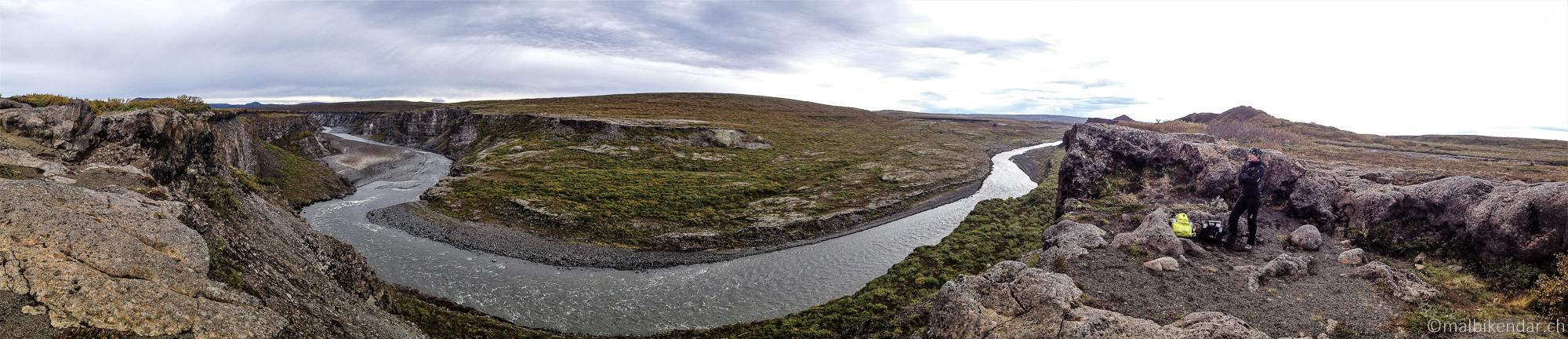 Randonnée à Asbyrgi, Vue panoramique sur le canyon de Jökulsa à Kviar