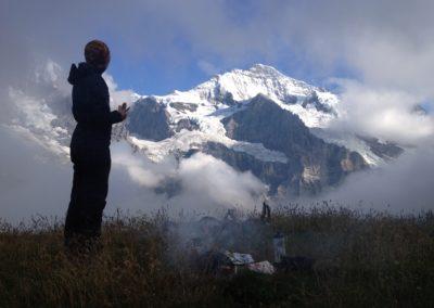 Bivouac au pied de l'Eiger, Mönch et Jungfrau
