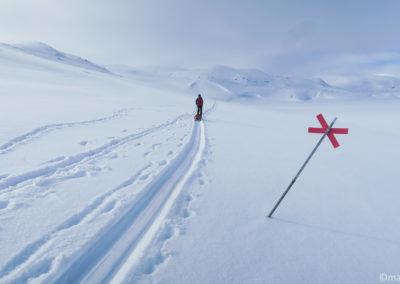 Markend Winter Trail, près de Valffojavri, entre Unna Allakas et Katterjakk