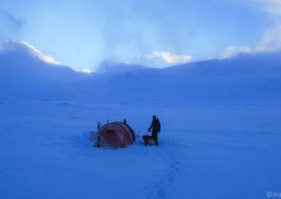 Camp de la tempête sur la Kungsleden