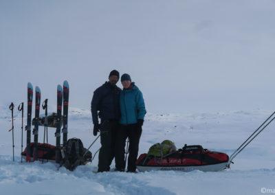 Dernière soirée du trek hivernal en skis et pulka
