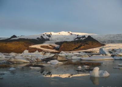 Voyage vélo en Islande en peu avant Fjallsarlon