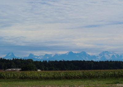 Panoramique sur les alpes bernoises depuis Utzenstorf
